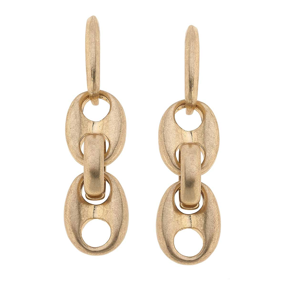 Ingrid Linked Chain Earrings in Worn Gold