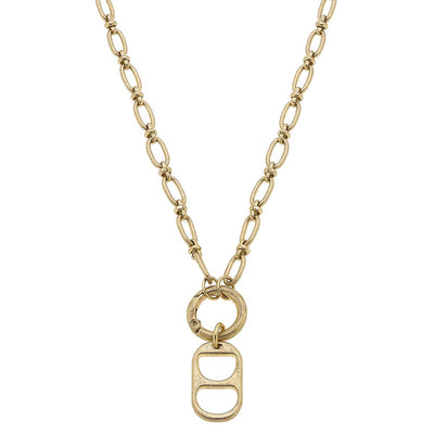 Tabitha Soda Tab-Inspired Chain Link Necklace in Worn Gold