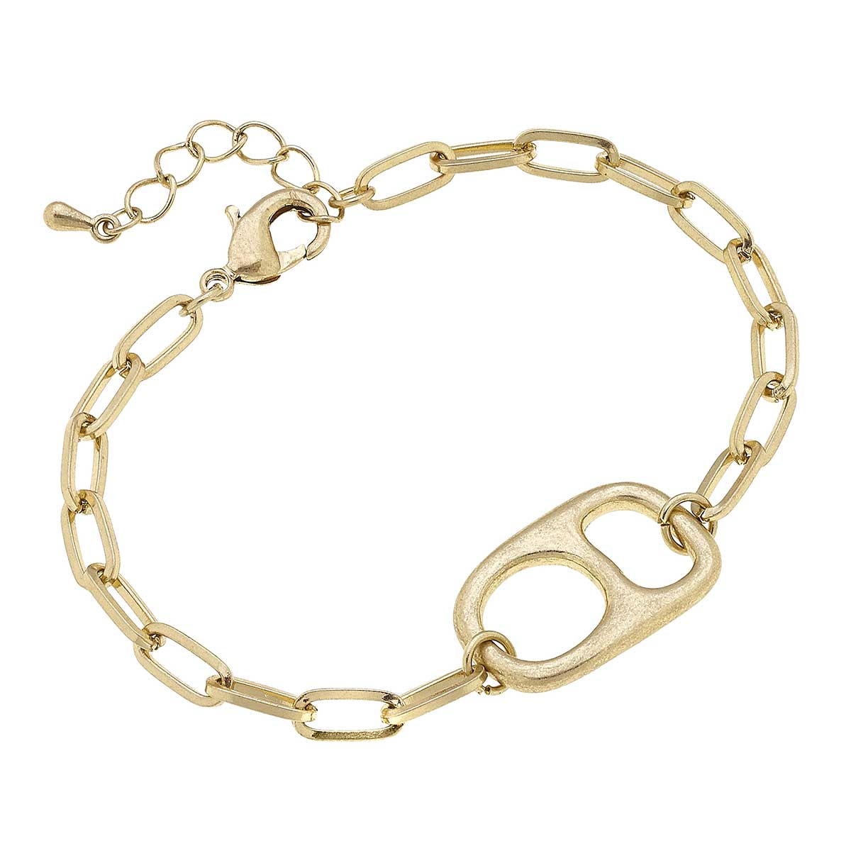 Tabitha Soda Tab-Inspired Chain Link Bracelet in Worn Gold