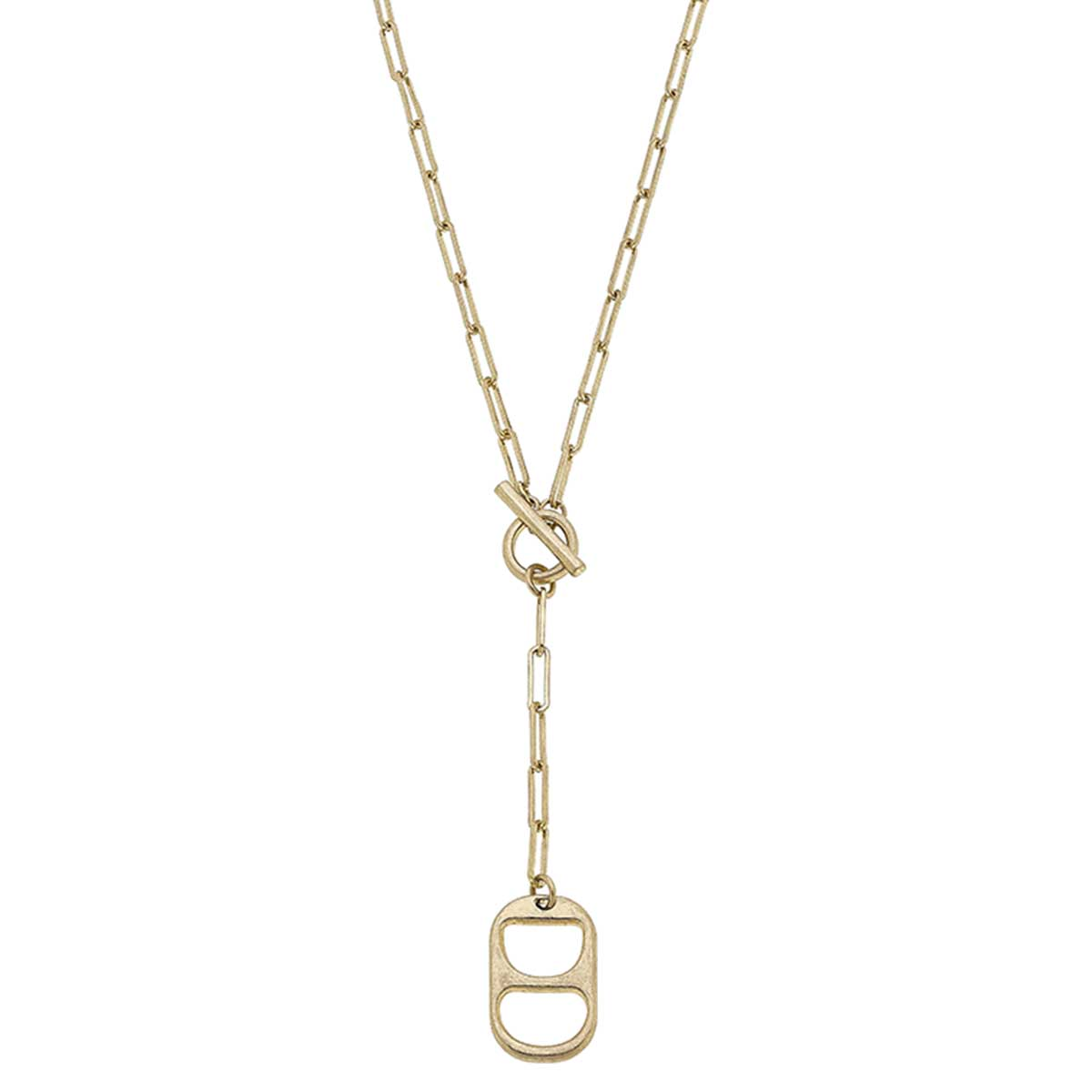 Tabitha Soda Tab-Inspired T-Bar Y Necklace in Worn Gold