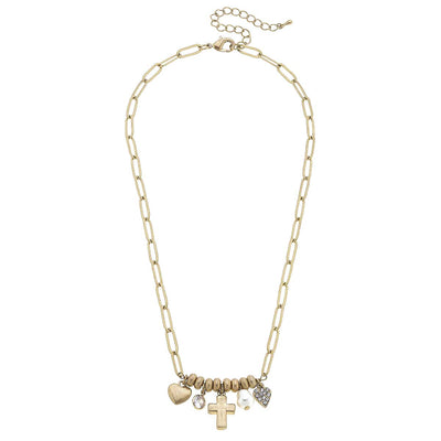 Camryn Cross and Heart Charm Necklace in Worn Gold
