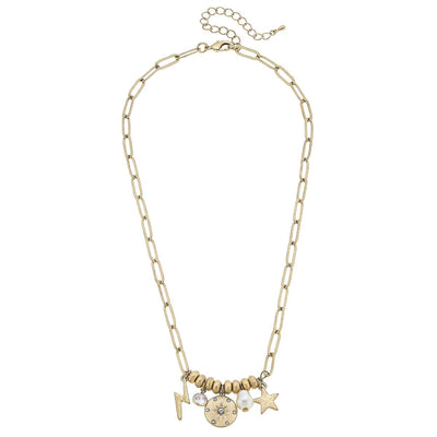 Camryn Star Charm Necklace in Worn Gold