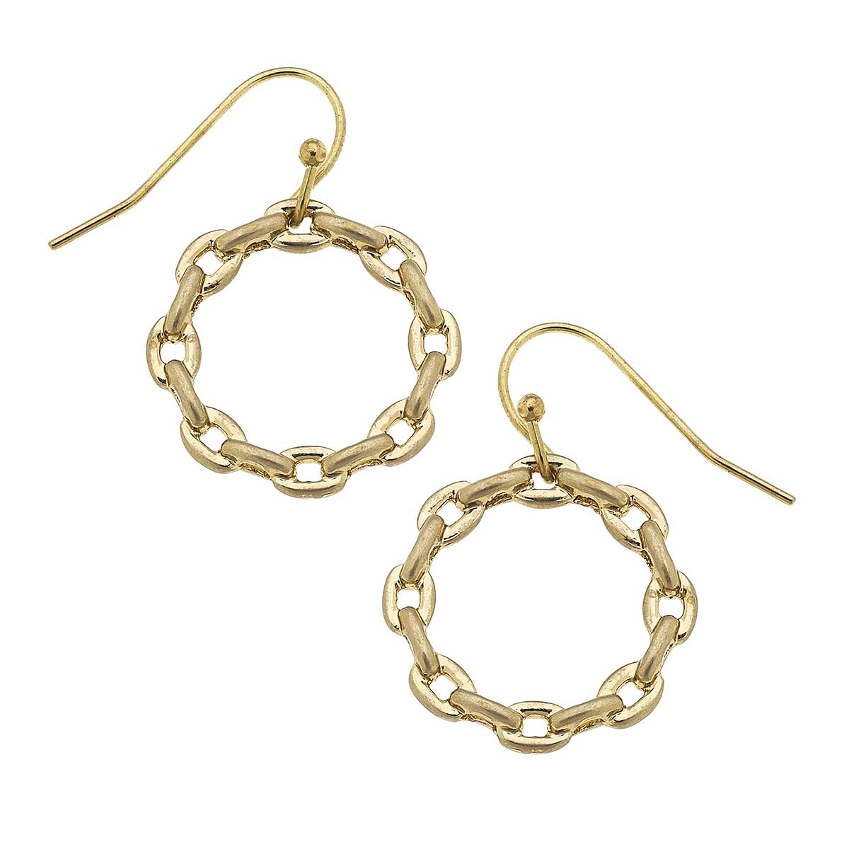 Heidi Frozen Chain Link Hoop Earrings in Worn Gold