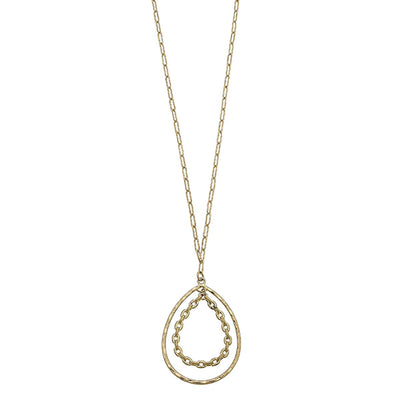 Kat Paperclip Chain Pendant Necklace in Worn Gold