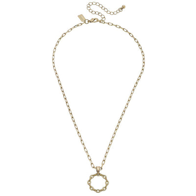 Heidi Paperclip Chain Necklace in Worn Gold