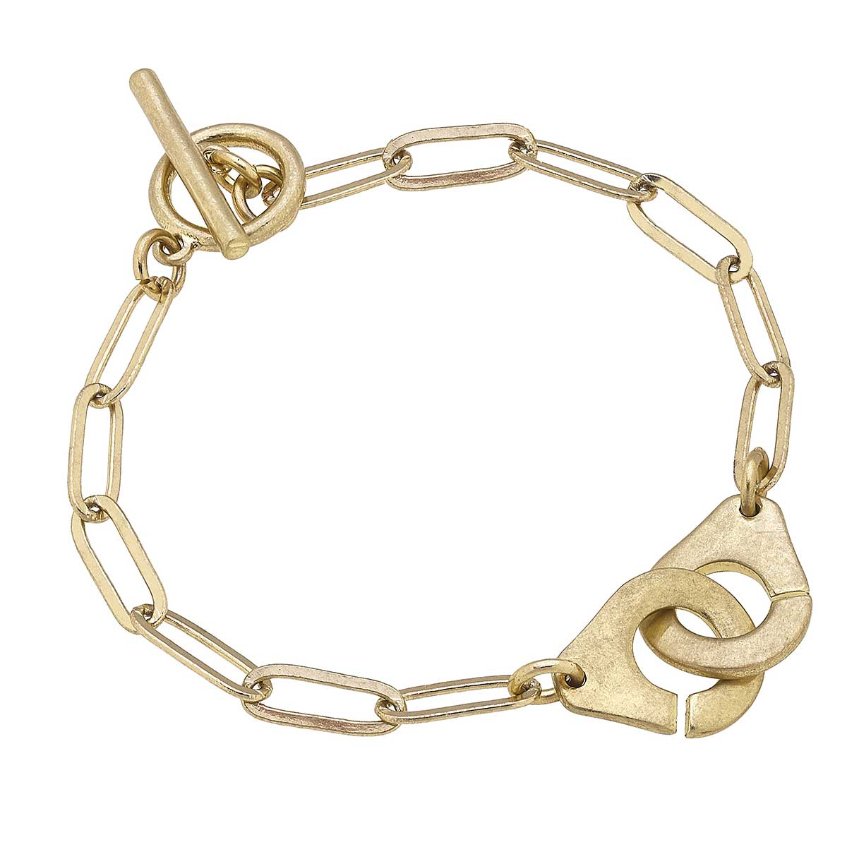 Londyn Handcuff Paperclip Chain T-Bar Bracelet in Worn Gold