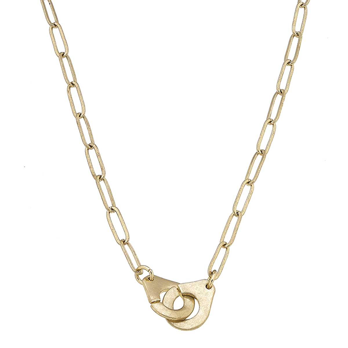 Londyn Handcuff Paperclip Chain T-Bar Necklace in Worn Gold