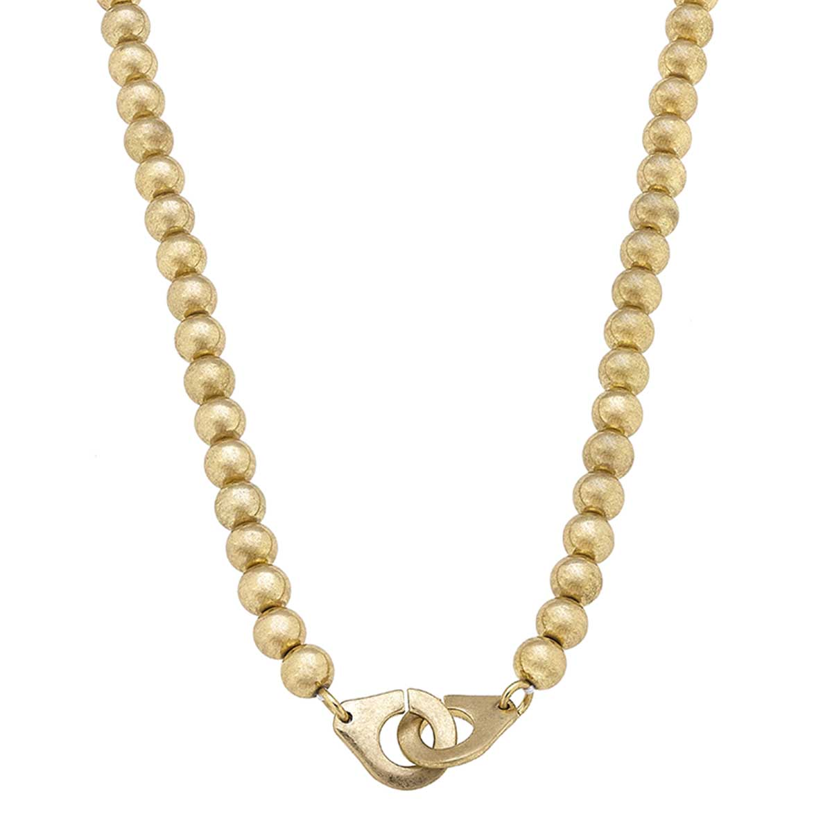 Nyla Handcuff Ball Bead T-Bar Necklace in Worn Gold