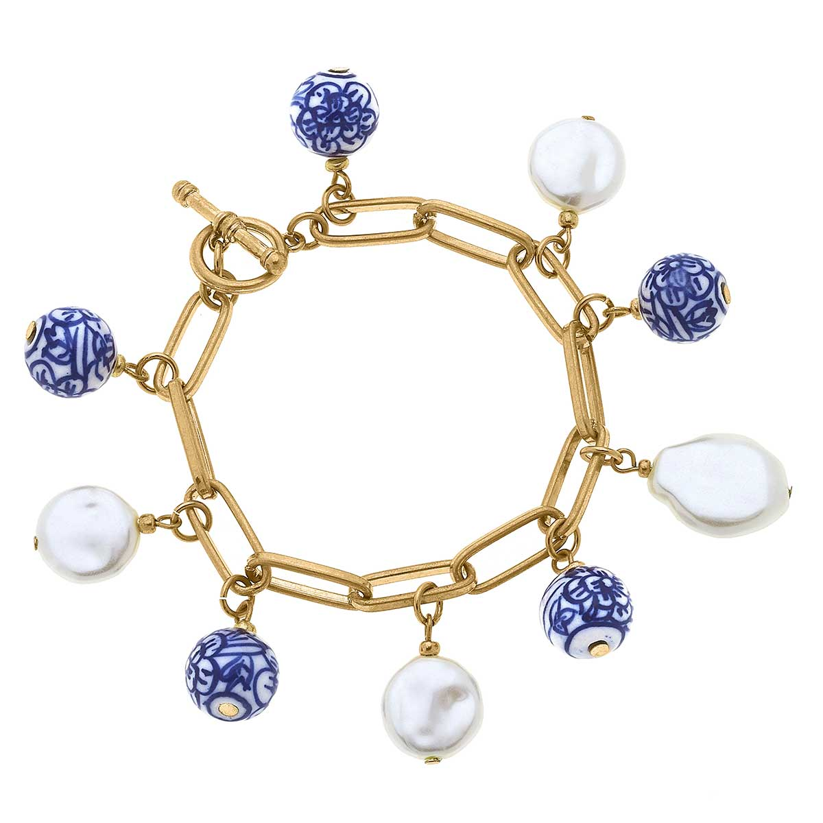 Paloma Chinoiserie Charm Bracelet in Blue & White