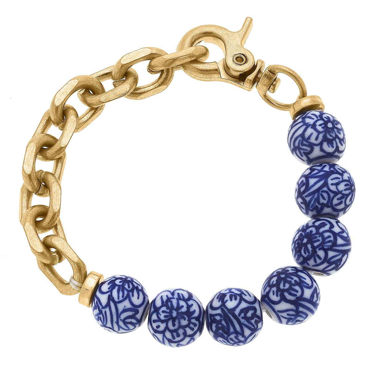 Paloma Chinoiserie & Chunky Chain Bracelet in Blue & White