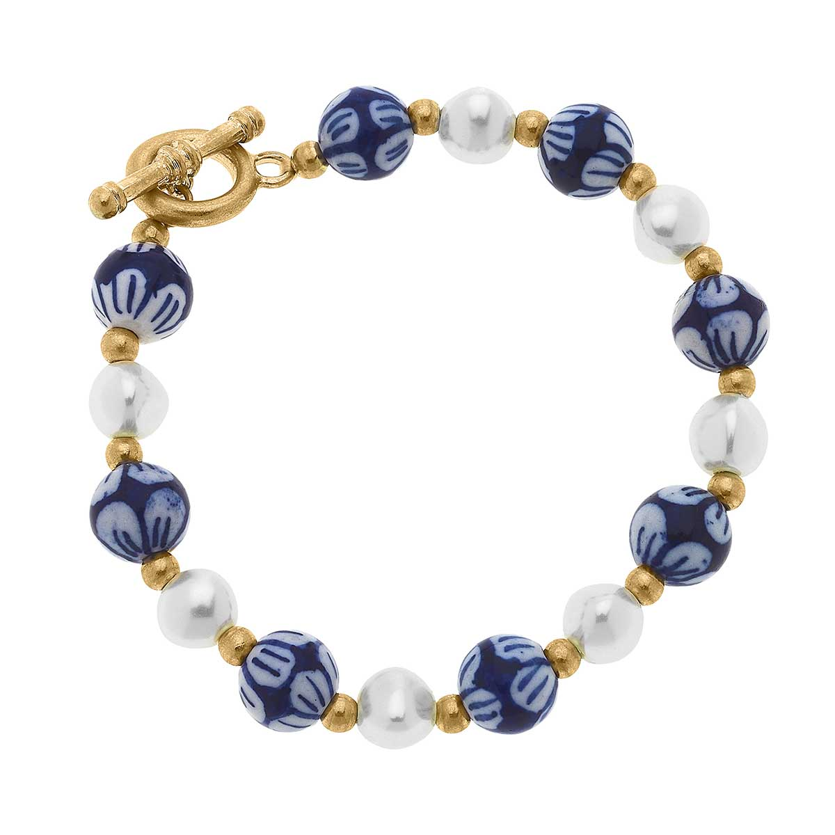 Charlotte Chinoiserie & Pearl T-Bar Bracelet in Blue & White