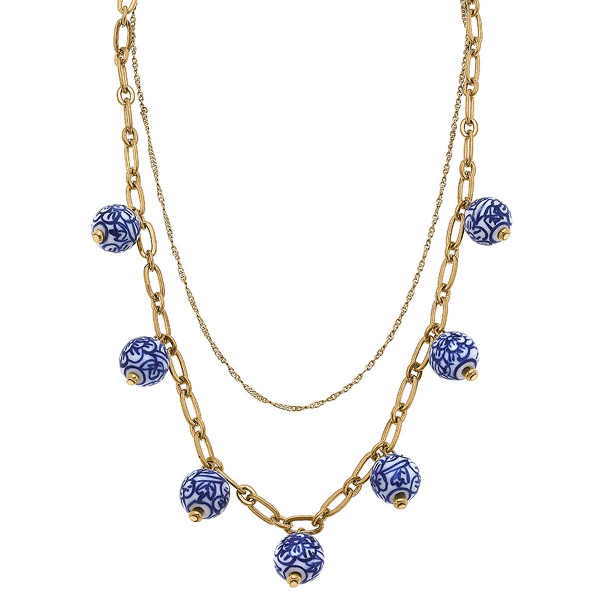 Paloma Chinoiserie Drip Necklace in Blue & White