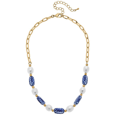 Katherine Chinoiserie & Pearl Necklace in Blue & White