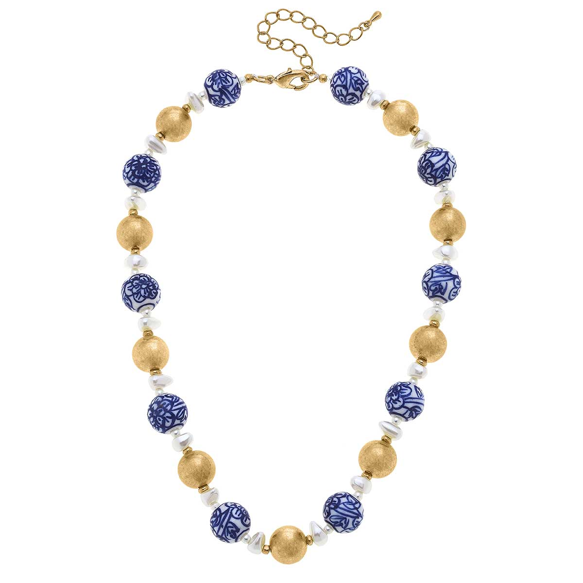 Paloma Chinoiserie & Ball Bead Necklace in Blue & White