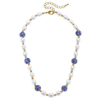 Loraine Chinoiserie & Pearl Beaded Necklace in Blue & White