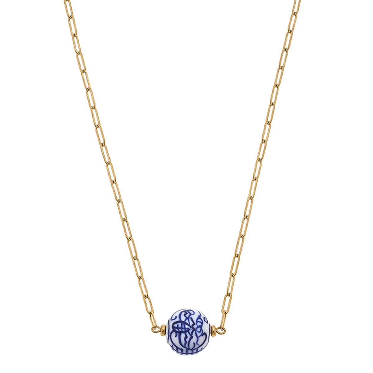 Willow Chinoiserie Necklace in Blue & White