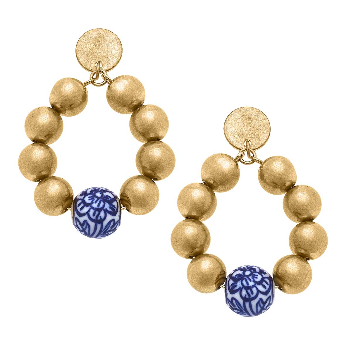 Paloma Chinoiserie & Ball Bead Teardrop Earrings in Blue & White