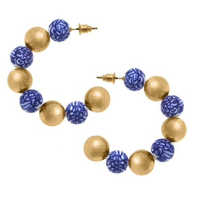 Meomi Chinoiserie & Ball Bead Hoop Earrings in Blue & White