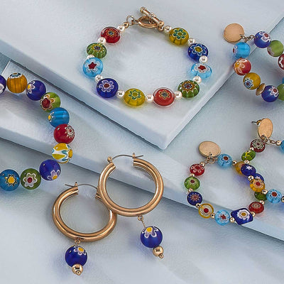 Millefiori Glass Bead Teardrop Hoop Earrings in Multi
