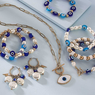 Murano Glass Evil Eye & Coin Pearl Talisman Cluster Hoop Earrings in Blue & White