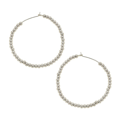 Aria Small Sphere Hoop Earrings In Worn Silver