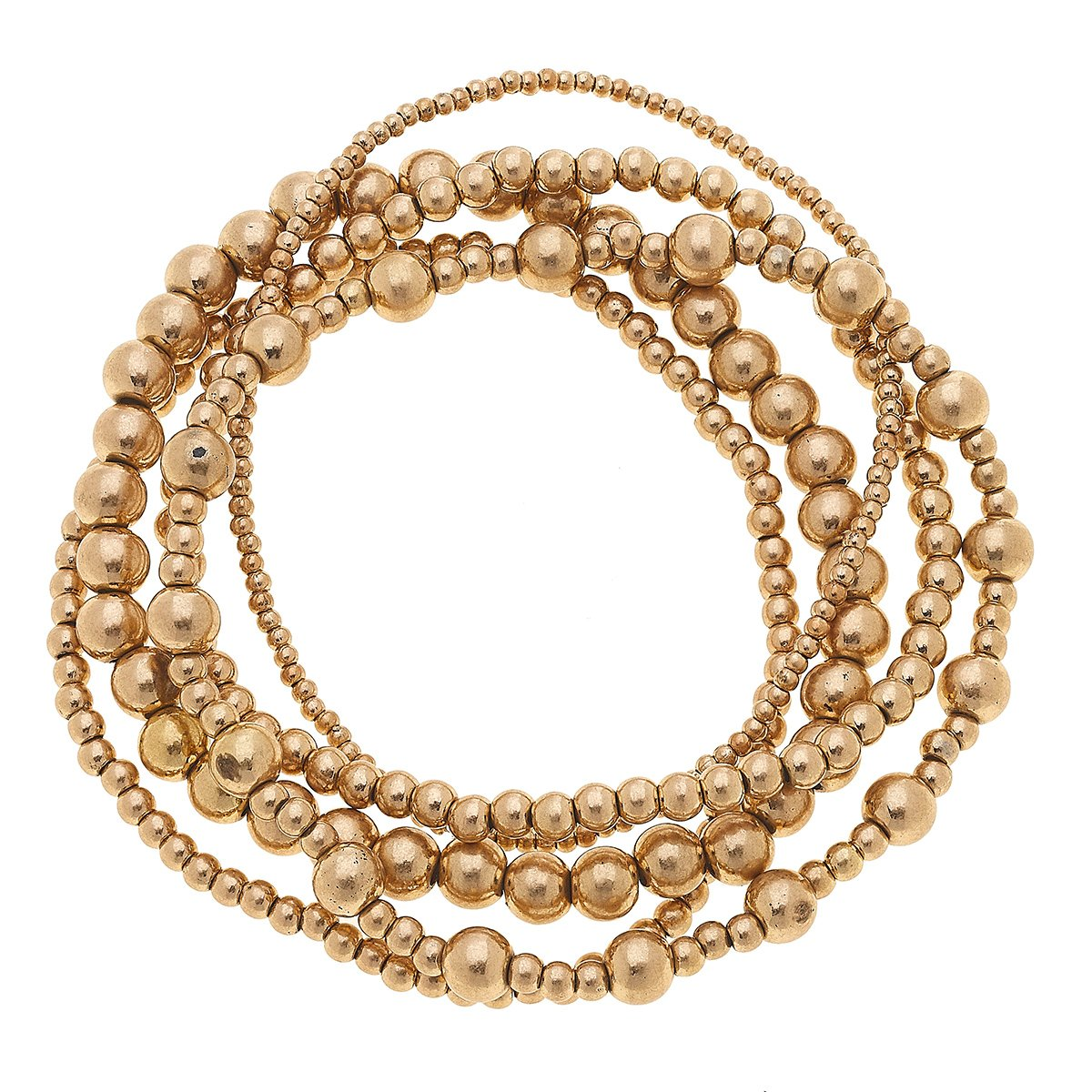 Caterina Layered Sphere Bracelets In Worn Gold (Set Of 4)