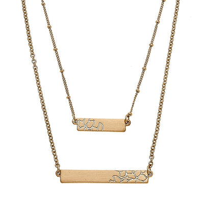 Chloe Layered Bar Necklace In Satin-Finished Gold