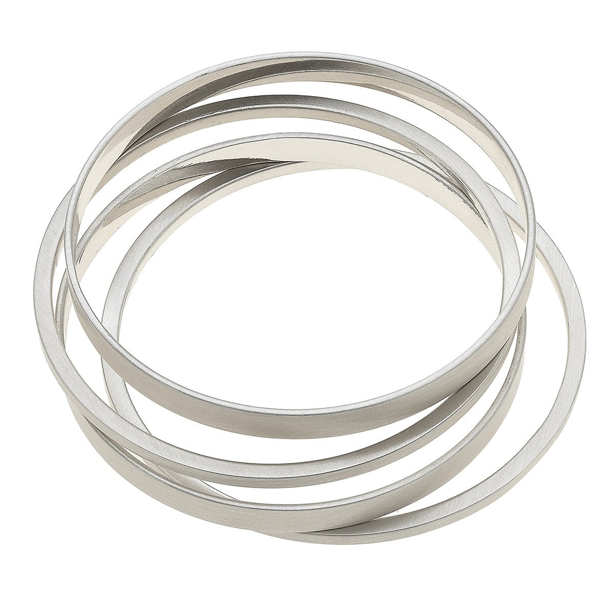 Cleo Bangle Stack In Satin Silver (Set Of 4)