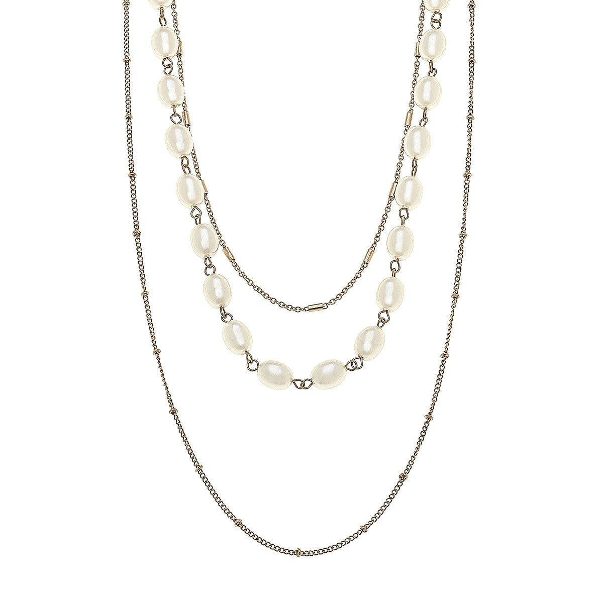 Elizabeth Layered Necklace In Ivory Pearl
