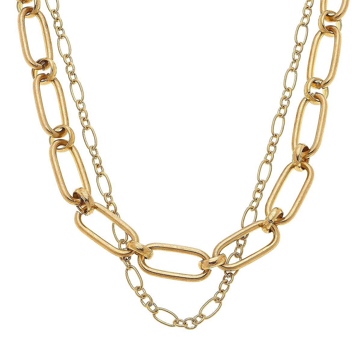 Everly Layered Chain Necklace In Worn Gold