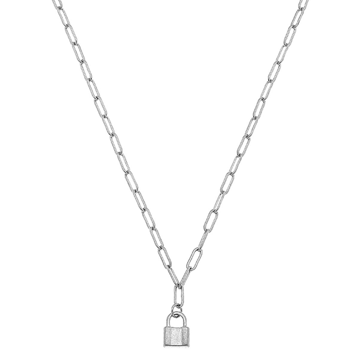 Genesis Mini Padlock Charm Necklace in Worn Silver