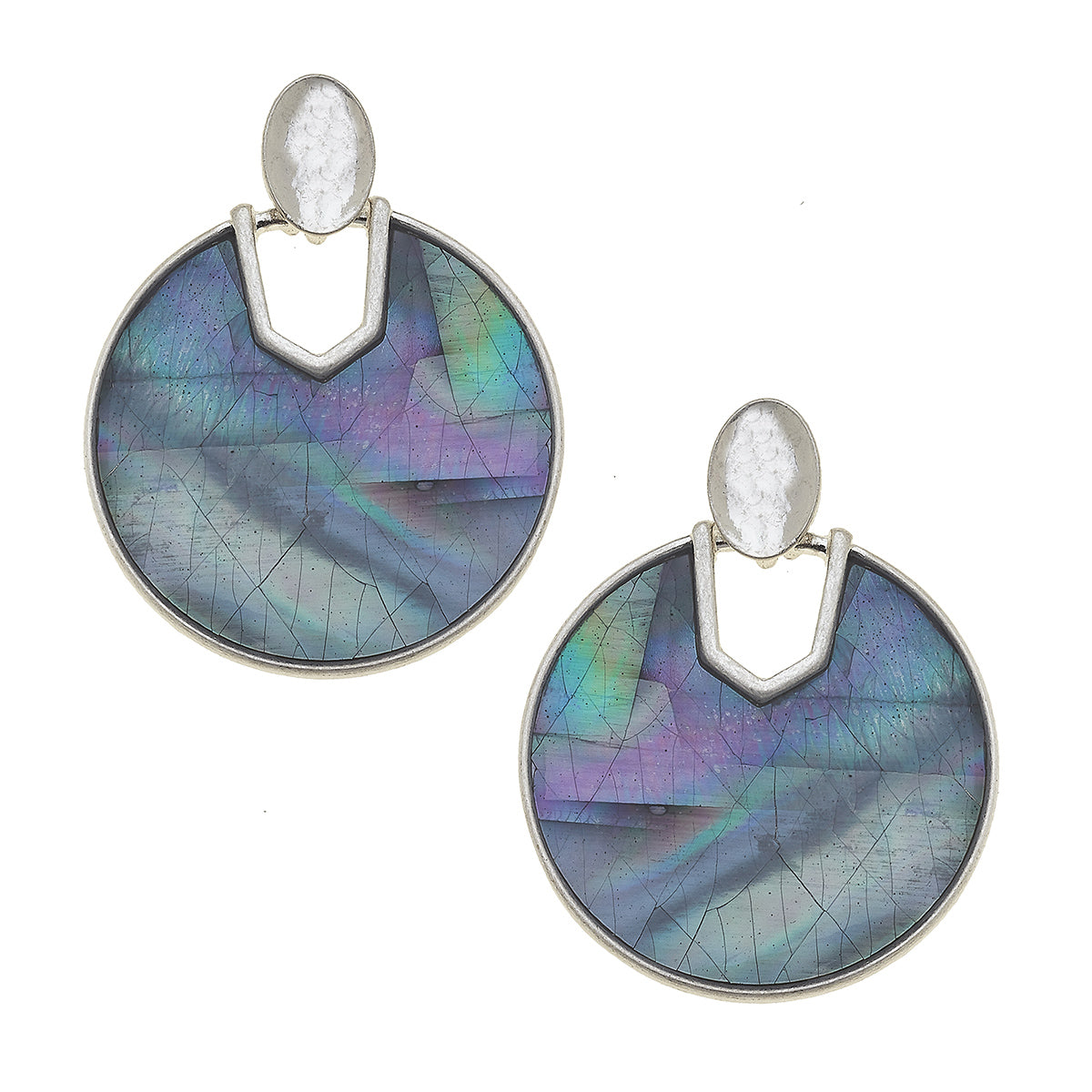 Genoa Earrings in Grey Mother of Pearl Shell