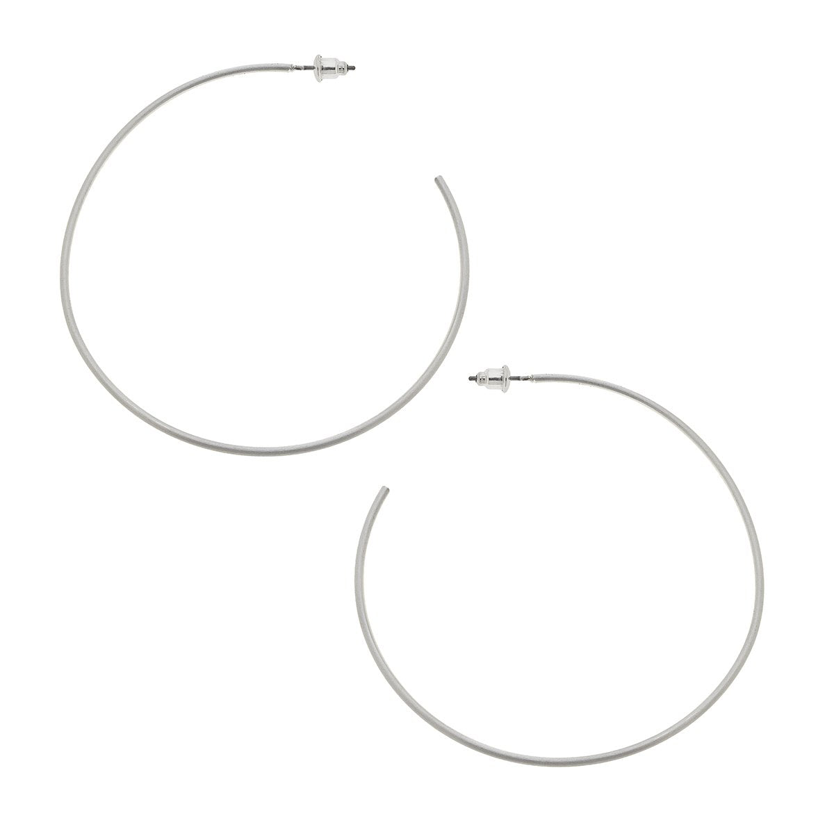Gwen Hoop Earrings In Satin Silver