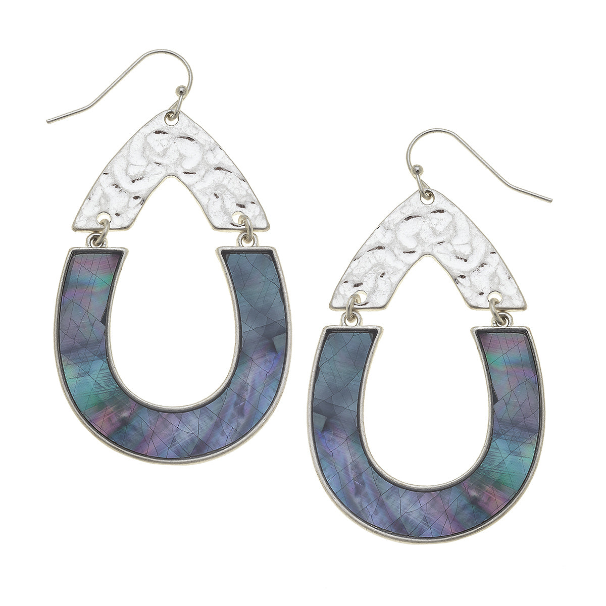 Harlow Teardrop Earrings in Grey Mother of Pearl Shell