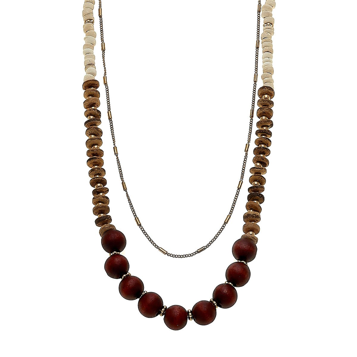 Henley Layered Necklace In Beige Tonal Wood & Clay
