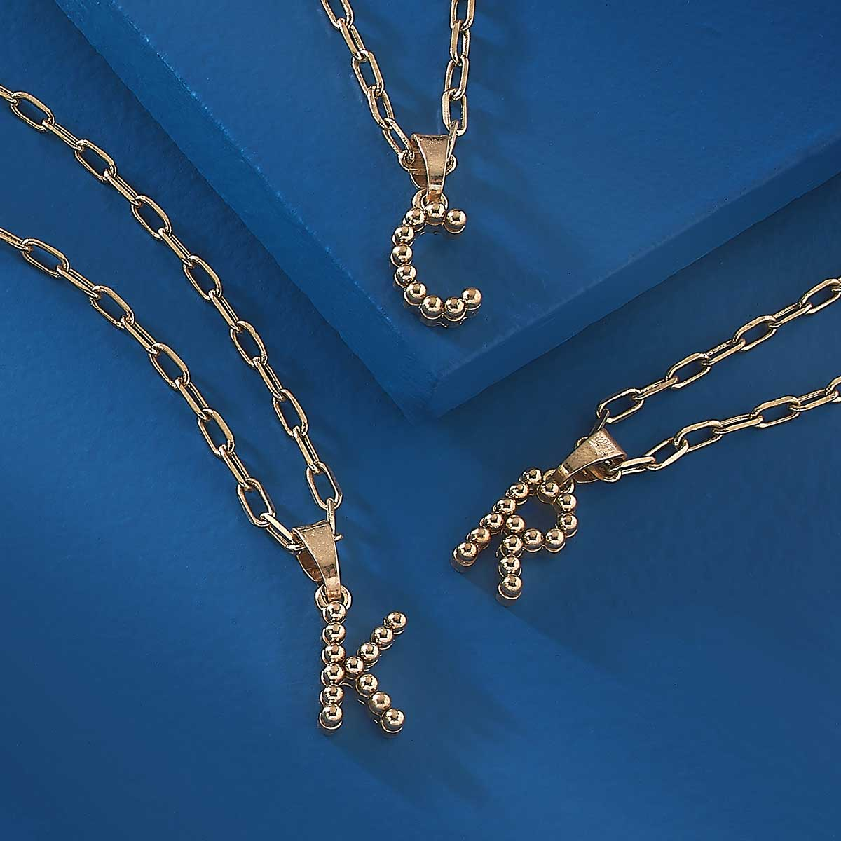 Layla Ball Bead Initial Necklace in Worn Gold | Available in 12 Different Letters