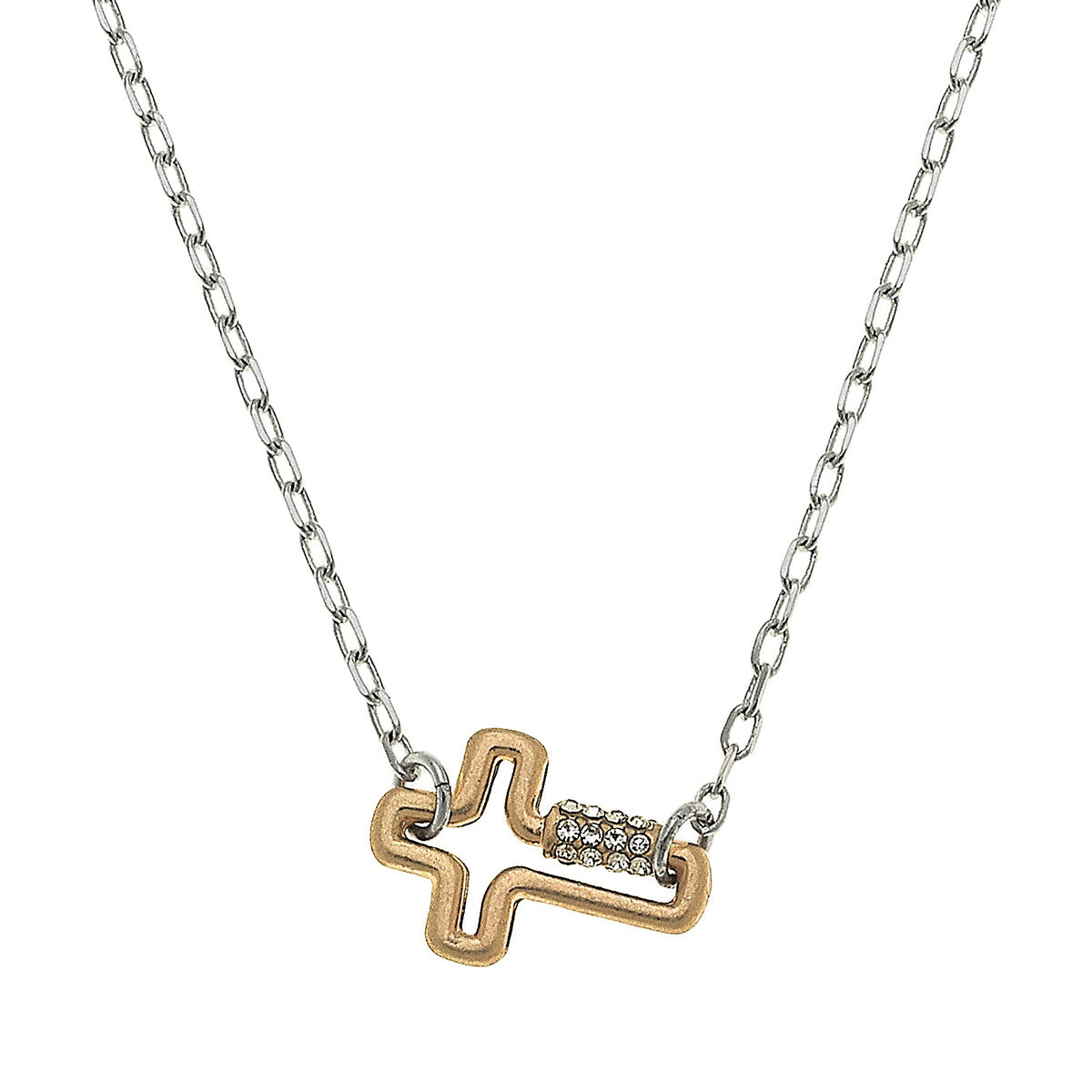 Leela Mini Cross Screw Lock Necklace in Two-Tone