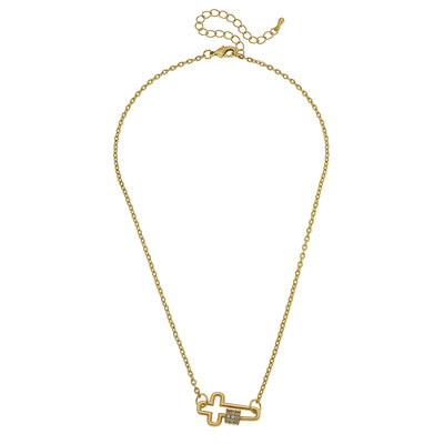 Leela Mini Cross Screw Lock Necklace in Worn Gold