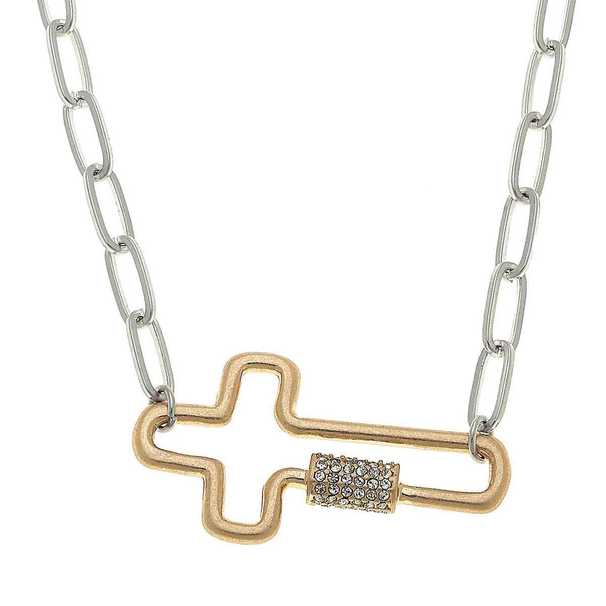 Lola Cross Screw Lock Necklace In Two-Tone