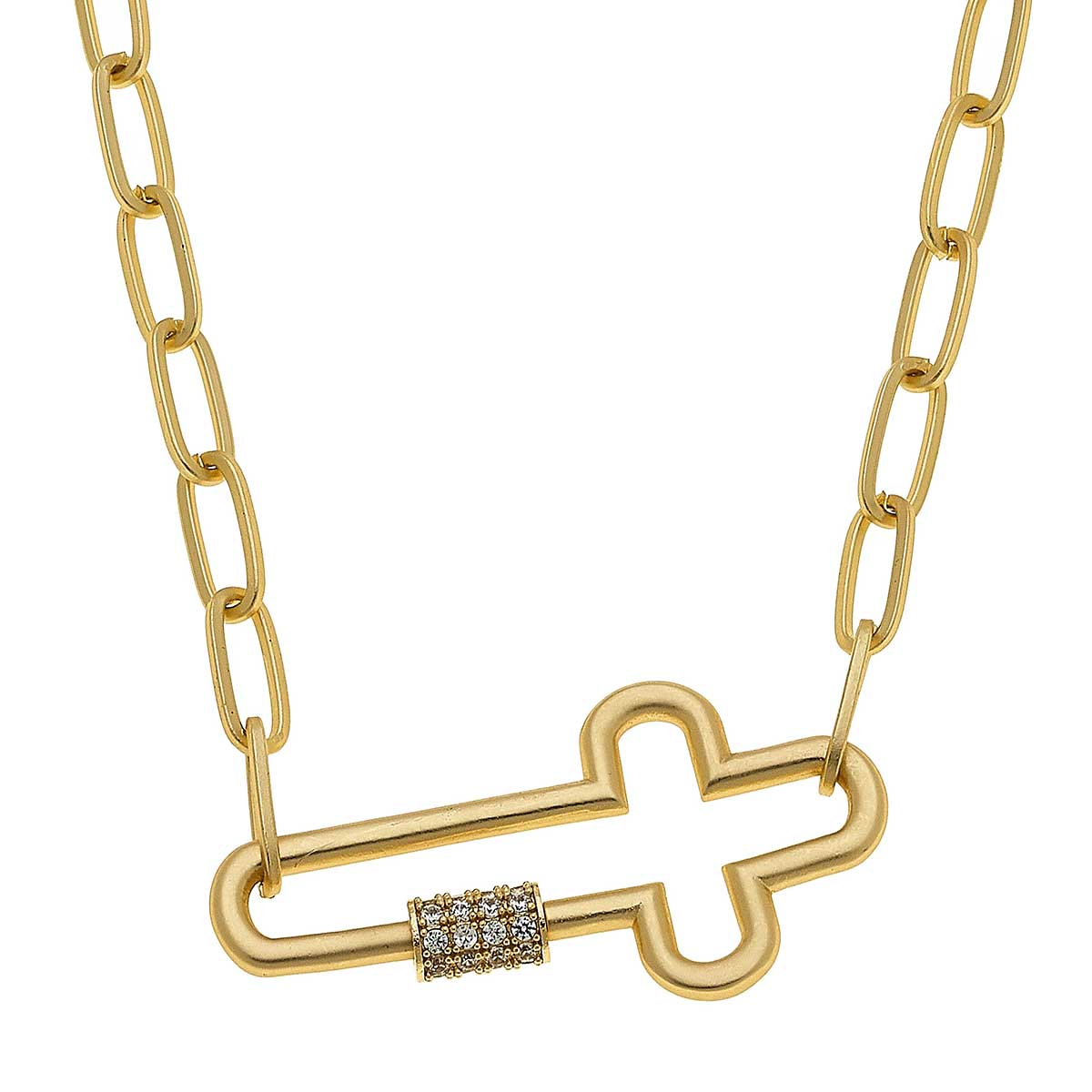 Lola Cross Screw Lock Necklace In Worn Gold