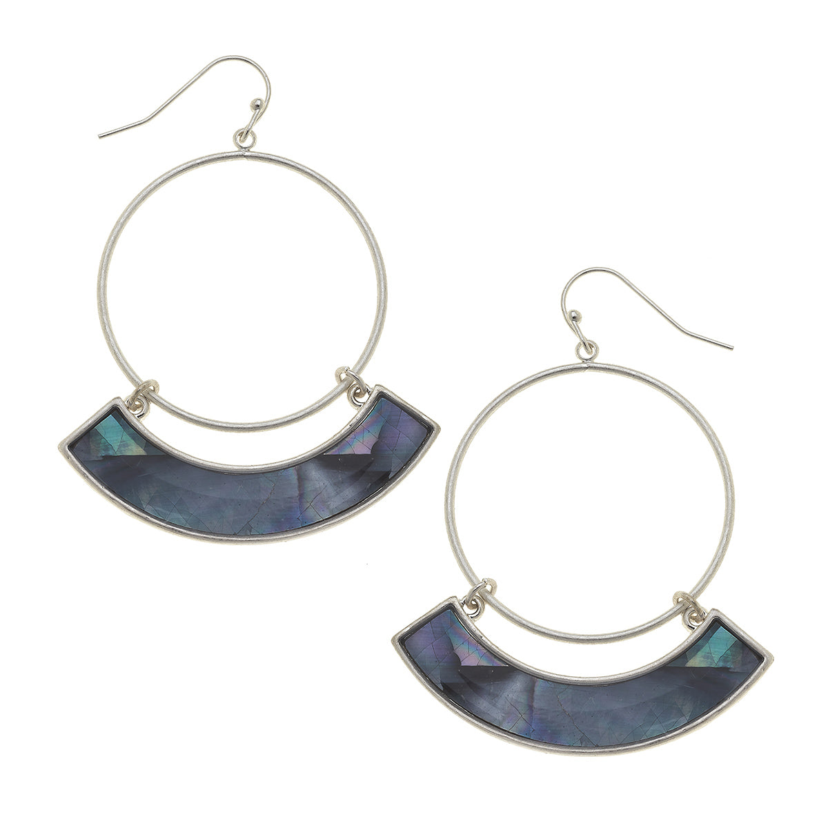 Maeve Hoop Earrings in Grey Mother of Pearl Shell