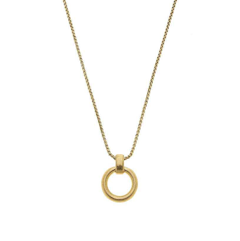 Paige O-Ring Necklace in Worn Gold