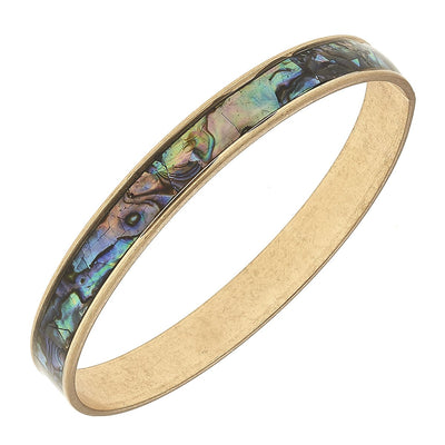 Paola Bangle Bracelet In Ablone Mother Of Pearl Shell