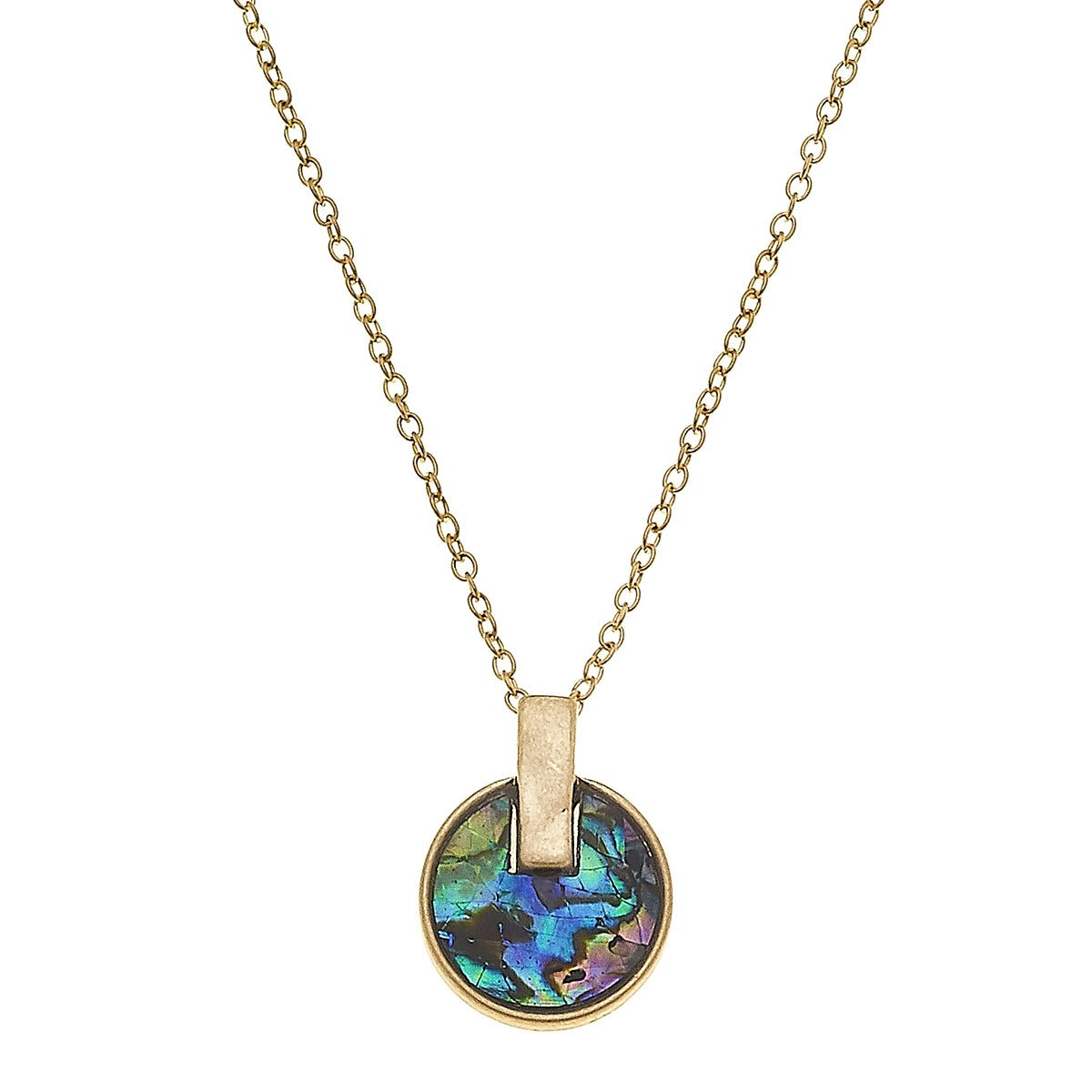 Siena Disc Necklace In Abalone Mother Of Pearl Shell