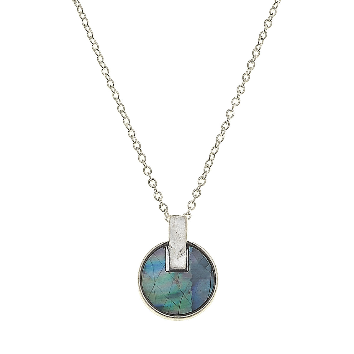 Siena Disc Necklace in Grey Mother of Pearl Shell