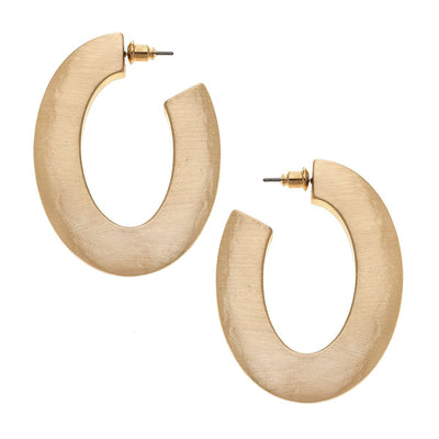Solange Hoop Earrings In Textured Satin Gold