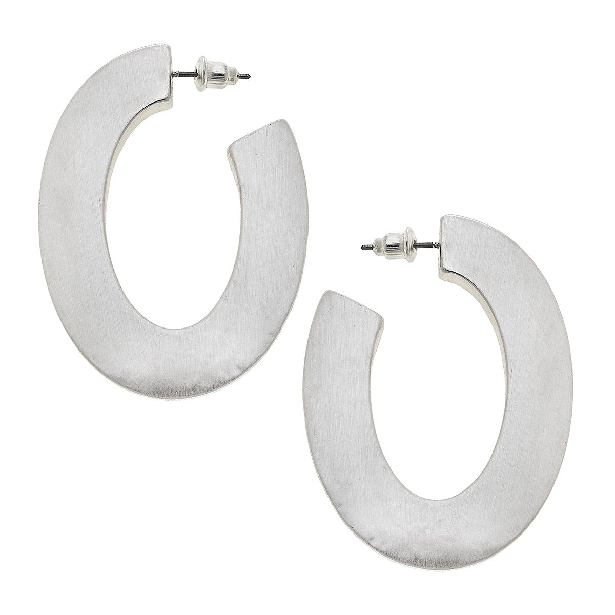 Solange Hoop Earrings In Textured Satin  Silver