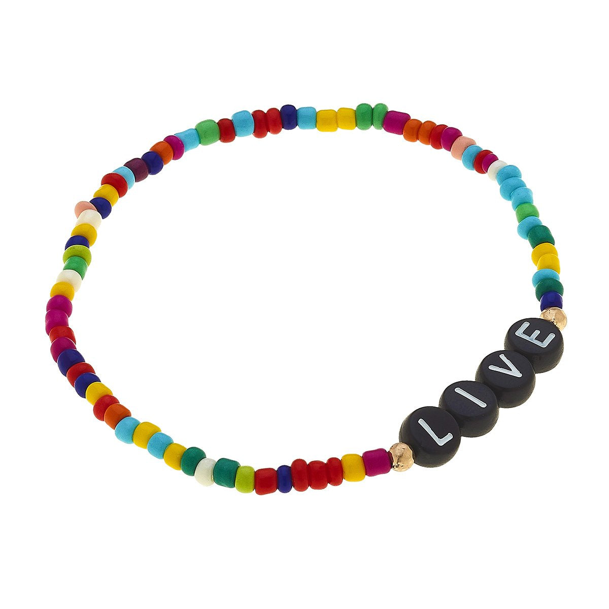 Zuri Block Letter Bracelet In Multi Seed Beads - Live