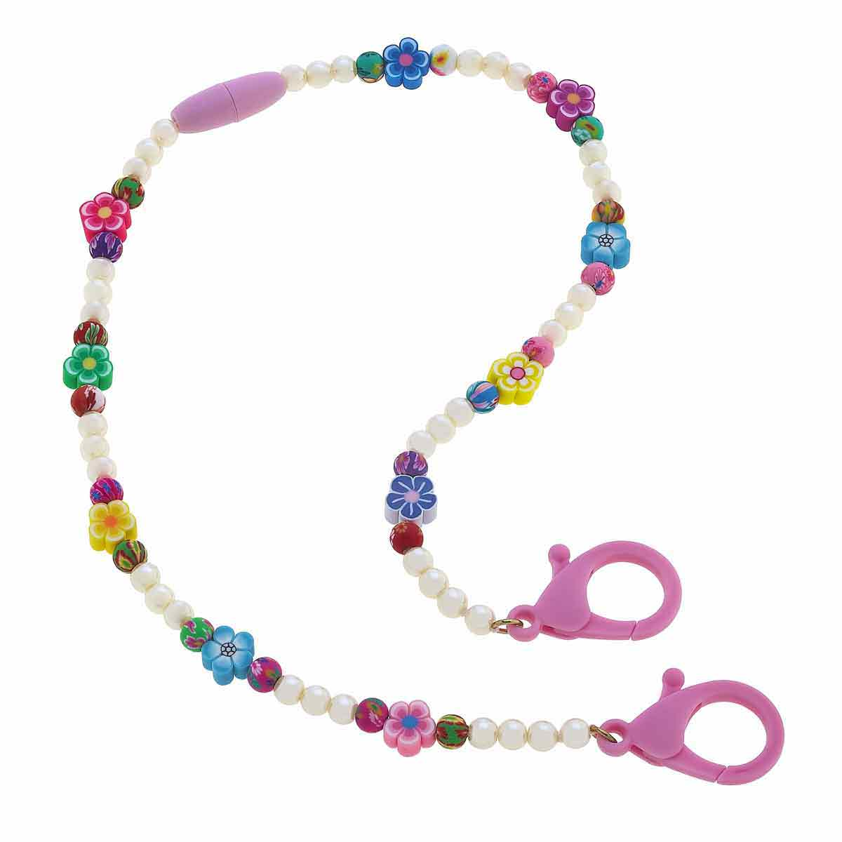 Amelia Children's Beaded Break-a-Way Mask Lanyard in Flowers & Faux Pearls - 20""