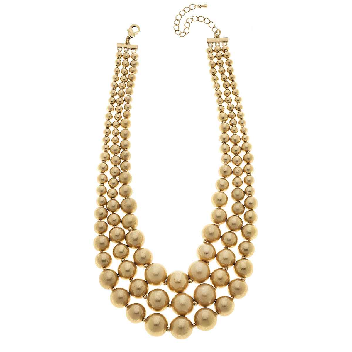 Audrey Layered Statement Necklace in Worn Gold